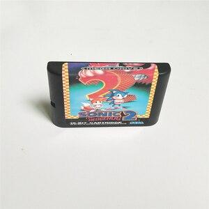 Image 2 - Sonic the Hedgehog 2   EUR Abdeckung Mit Einzelhandel Box 16 Bit MD Spiel Karte für Megadrive Genesis Video Spiel konsole