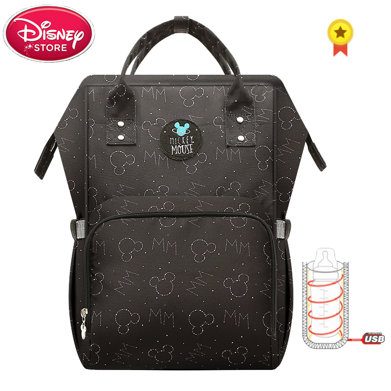 Disney Mickey Mouse Mummy Diaper Bags with USB Charging for Baby Care Nappy Nursing Bag Travel Maternity