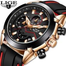 LIGE Mens Watches Silicone Strap Top Brand Luxury Luminous Waterproof Sports Chronograph Quartz Business Watch Men reloj hombre