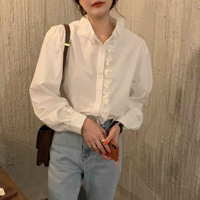 REALEFT Elegant White Women's Blouse Lace Patchwork Lantern Sleeve Buttons Office Shirts Tops Female 2021 New Spring Summer 3