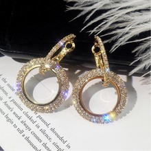 27 Styles Luxury Rhinestone Crystal Earrings Fashion Creative 925 silver Needle Women Geometric Hollow Big Circle Earr