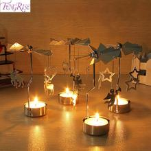 Christmas Spinning Candle Holder Decorations For Home Ornament 2019 Noel Navidad Xmas Gifts New Year 2020