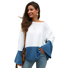 NORMOV Autumn Winter Round neck Sweater Woman Casual splice Long sleeve Sweaters Warm womens clothing