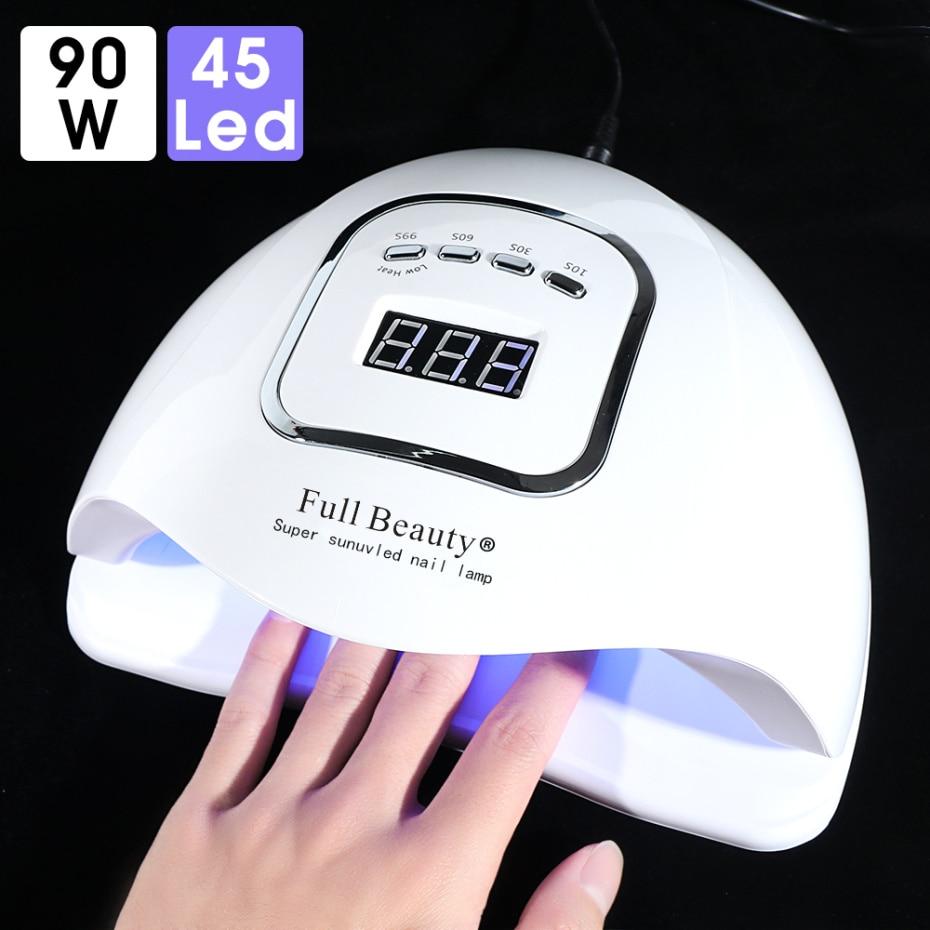 90W LED Nail Lamp For Manicure 45 Pcs Leds All Gel Varnish Nail Dryer LCD Display Auto Sensing Lamp Nail Art Salon Tools LAFB5X
