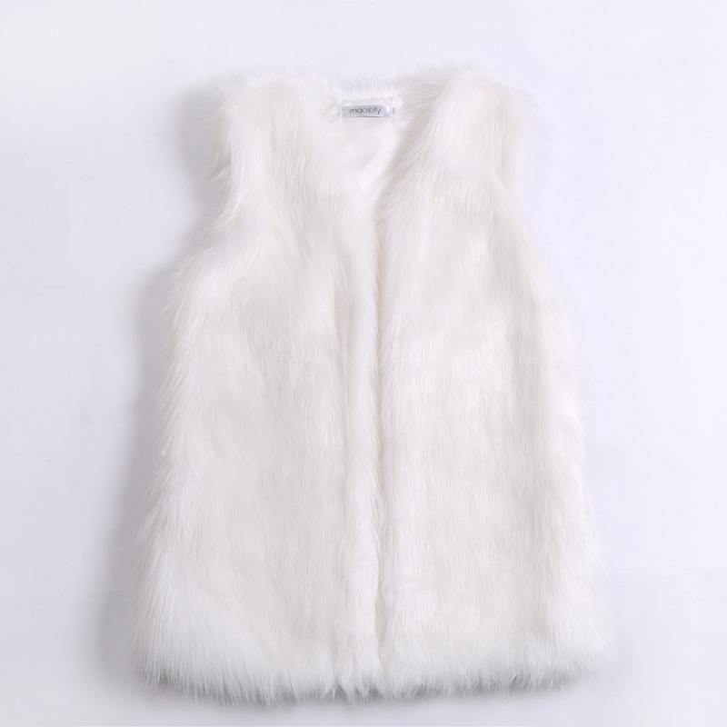 Faux Fur Vest Autumn Winter Women Long Warm Female Jacket V-neck Streetwear Warm Loose Faux Fur Gilet Plush Coat High Quality