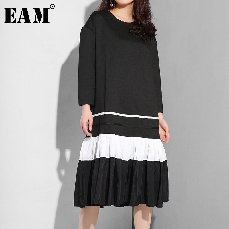 [EAM] 2020 New Autumn Summer Round Neck Long Sleeve Hit Color Hem Pleated Split Joint Loose Dress Women Fashion Tide ASW00