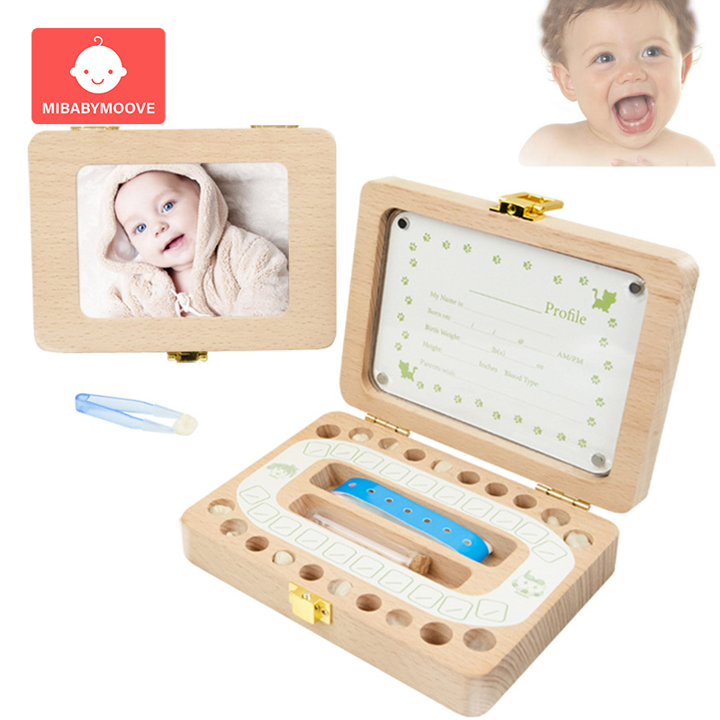 Photo Frame Baby Milk Teeth Box Multifunction Wooden Tooth Umbilical Lanugo Storage Organizer Kids Teeth Save Souvenirs Gifts