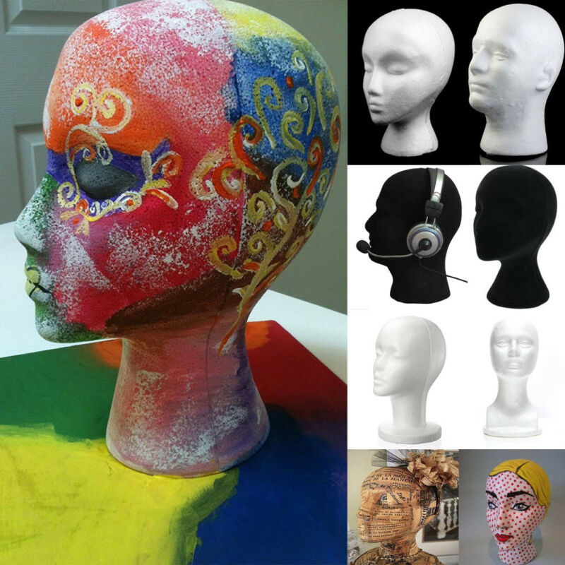 New Fashion Female Male Styrofoam Foam Mannequin Head Model Hat Wig Display Stand Rack