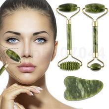 Rullo di massaggio facciale in pietra di giada per viso occhio viso collo massaggiatore naturale raschietto Guasha rullo sottile per strumenti dimagranti di bellezza