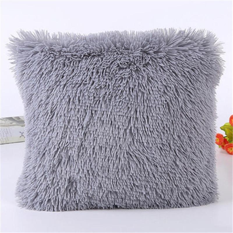 Throw Pillow Cases Cover Car Furry Sofa Waist Cushion Cover Popular Square Plush Furry Pillowcase Cover Home Decoration