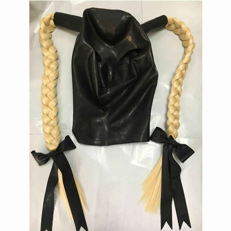 Латексная маска с двойным светлым парик с длинными волосами красивая девушка резиновый головной убор маска секс-игрушка веревка для связывания секс-маска BDSM взрослые игры