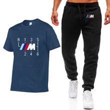 Fashion Summer Men T Shirts for BMW Car Logo Print HipHop Casual Cotton Short Sleeve high quality T-shirt pants suit Mens wz(China)