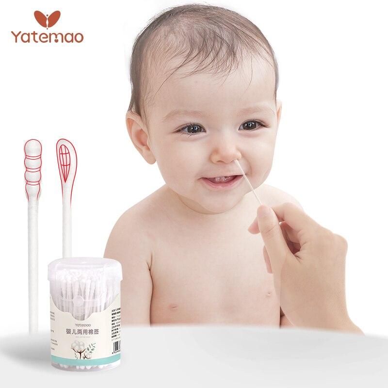 YATEMAO 600/branch Baby Cotton Swabs For New Born Baby Girls Boys Kids Swabs