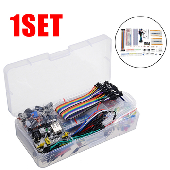 цена на Electronics Component Basic Starter Kit With 830 Tie-points Breadboard Cable Resistor Capacitor LED Potentiometer