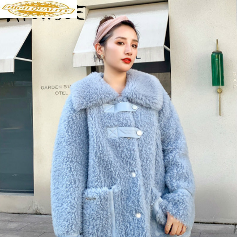 Real Fur Coat Women Clothes 2020 Korean 100% Wool Jacket Winter Coat Women Sheep Shearing Real Fur Jacket Warm Coat P9039 YY1843