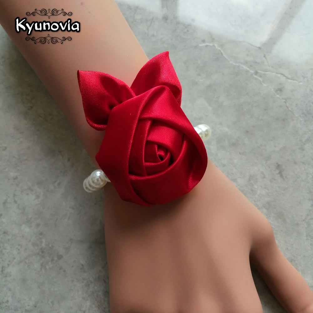 Kyunovia Wedding Bride Girl Bridesmaid Floral Hand Wrist Corsage Adjustable Ribbon Rose Bracelet Ceremony Party Prom Flower D160
