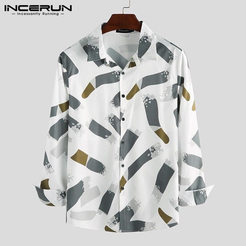 Fashion Long Sleeve Men Shirt Printed Casual Turn-down Collar Streetwear Button Brand Men Business Shirt Camisa INCERUN S-3XL