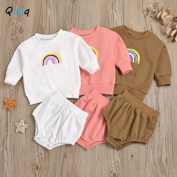 Qunq Baby Clothing Set Rainbow Print Sweatshirt Shorts 2pcs Newborns Suits for Girls Spring Summer Infant Boy Clothes 2021 New girls rainbow print sweatshirt