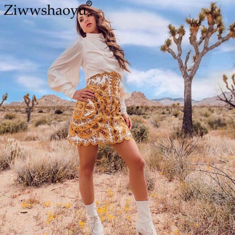 ส่วนลดครั้งสุดท้าย เย็บปักถักร้อยรูปแบบเรขาคณิตพิมพ์สามมิติตัดกระโปรงลูกปัดผู้หญิง Elegant Ziwwshaoyu
