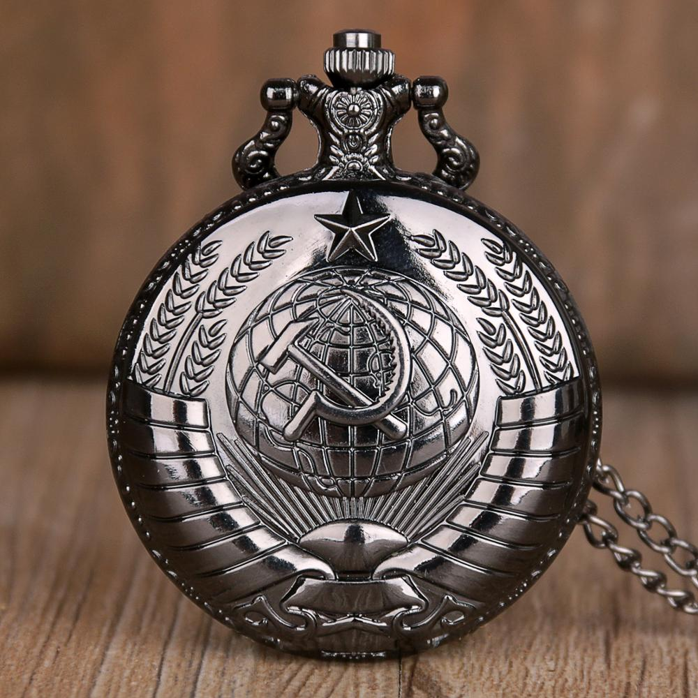 Antique Black Russia Soviet Sickle Quartz Pocket Watch Pendant Clock For Mens Womens TD2019