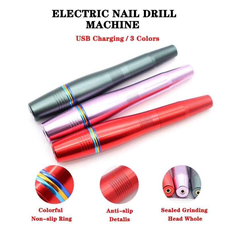Taşınabilir USB elektrikli tırnak matkap makinesi ayarlanabilir hız güçlü tırnak parlatıcı manikür ekipmanları aksesuarı tırnak sanat alet takımı