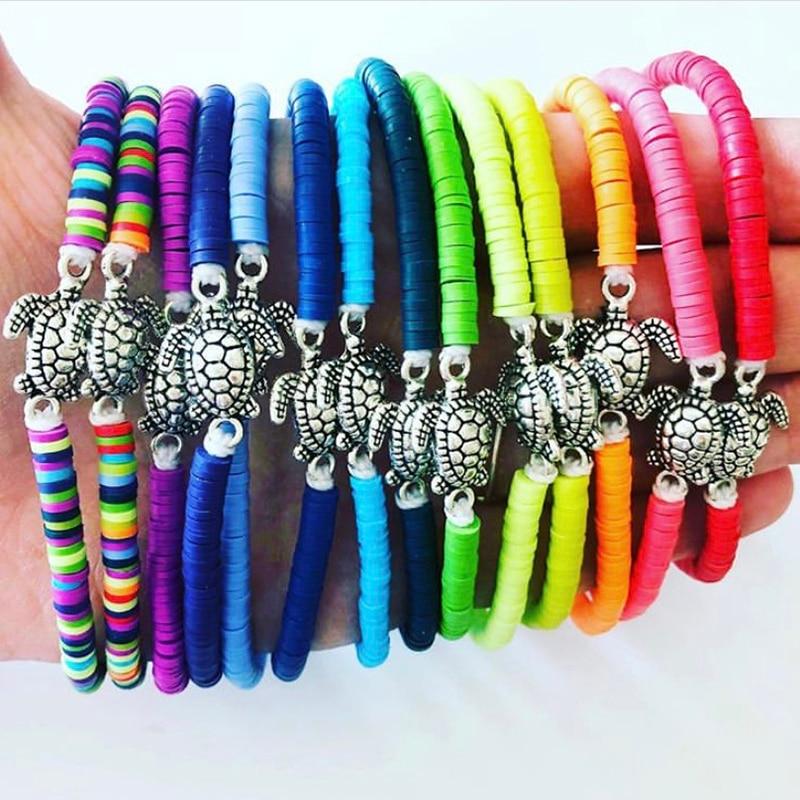 Vintage Silver Color Sea Turtle Charm Bracelet for Women Boho Polymer Clay Disc Bracelets Female Handmade Jewelry Accessory