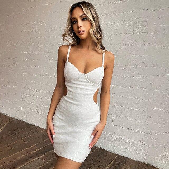 Strap Dress Women Sexy Bodycon Dress Hollow Waist Reveal Chest Dresses Sexy Strap Reveal Chest Hollow Skirt Summer Light Dresses 1