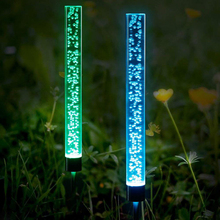 2pcs Solar Power Tube Lights Lamps Acrylic Bubble Pathway Lawn Landscape Decoration Garden Stick Stake Light Lamp Set Apr16