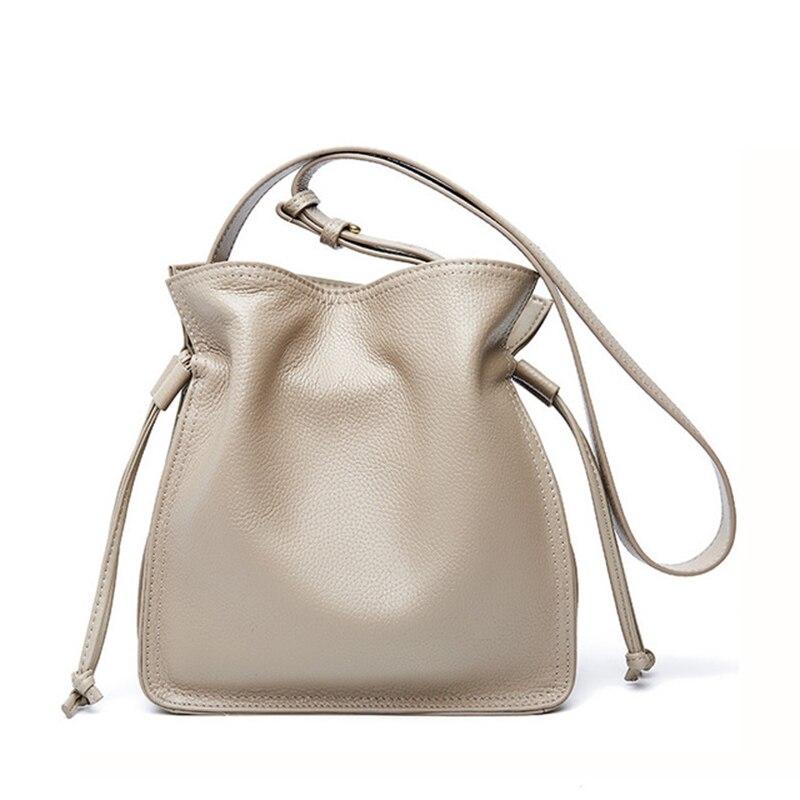 2020 Luxury Handbags Women's Genuine Leather Handbags Fashion Bucket Bags Small Shoulder Bags Cow Leather Ladies Messenger Bags