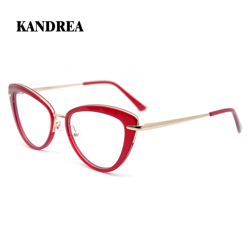 KANDREA 2020 New Women Eyeglasses Metal Cat Eye  Glasses Classic Large Frame Eyewear Fashion Optical Prescription Spectacles