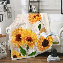 Manta Retro de girasol, Estilo Vintage, manta de felpa Floral, colcha de letras antiguas en la cama S ofa