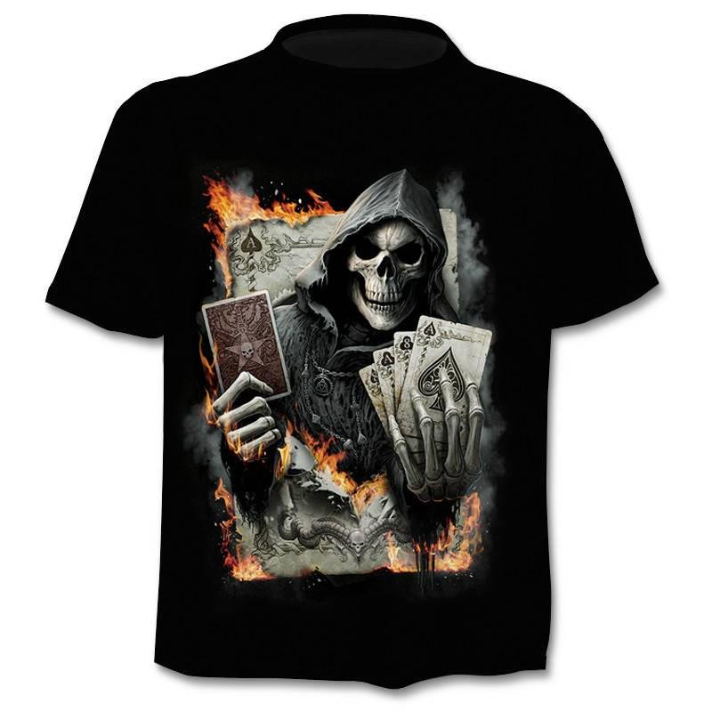 T-shirt 2020 Summer New Men's T-shirt 3D Skull & Poker Fashion Short-sleeved Tops Street Round Neck T-shirt Unisex Casual Tops