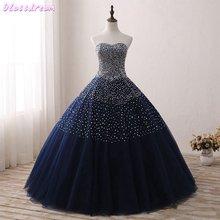 Блестящее бальное платье quinceanera 2021 темно синее Пышное