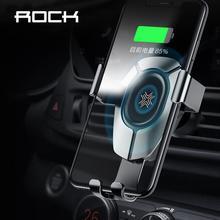 ROCK 15W 빠른 무선 충전 중력 자동차 마운트 아이폰 8 플러스 X Xr Xs 최대 11 프로 최대 자동차 홀더 화웨이 P30 Mate30 프로