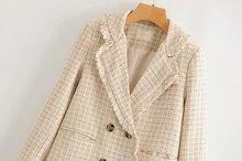 Women Clothes European and American Style Lattice Women's Autumn New Tassel Plaid Temperament Blazer Women Jacket