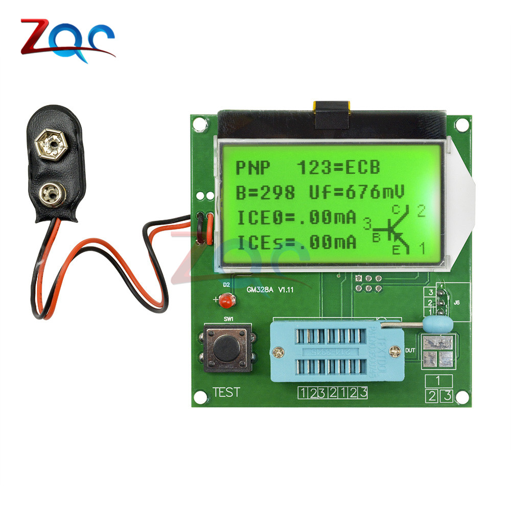 LCD GM328A Transistor Tester Capacitance Capacitor ESR Frequency Meter LCR \RLC\PWM\ESR Meter MOS/PNP/NPN Square Wave Signal