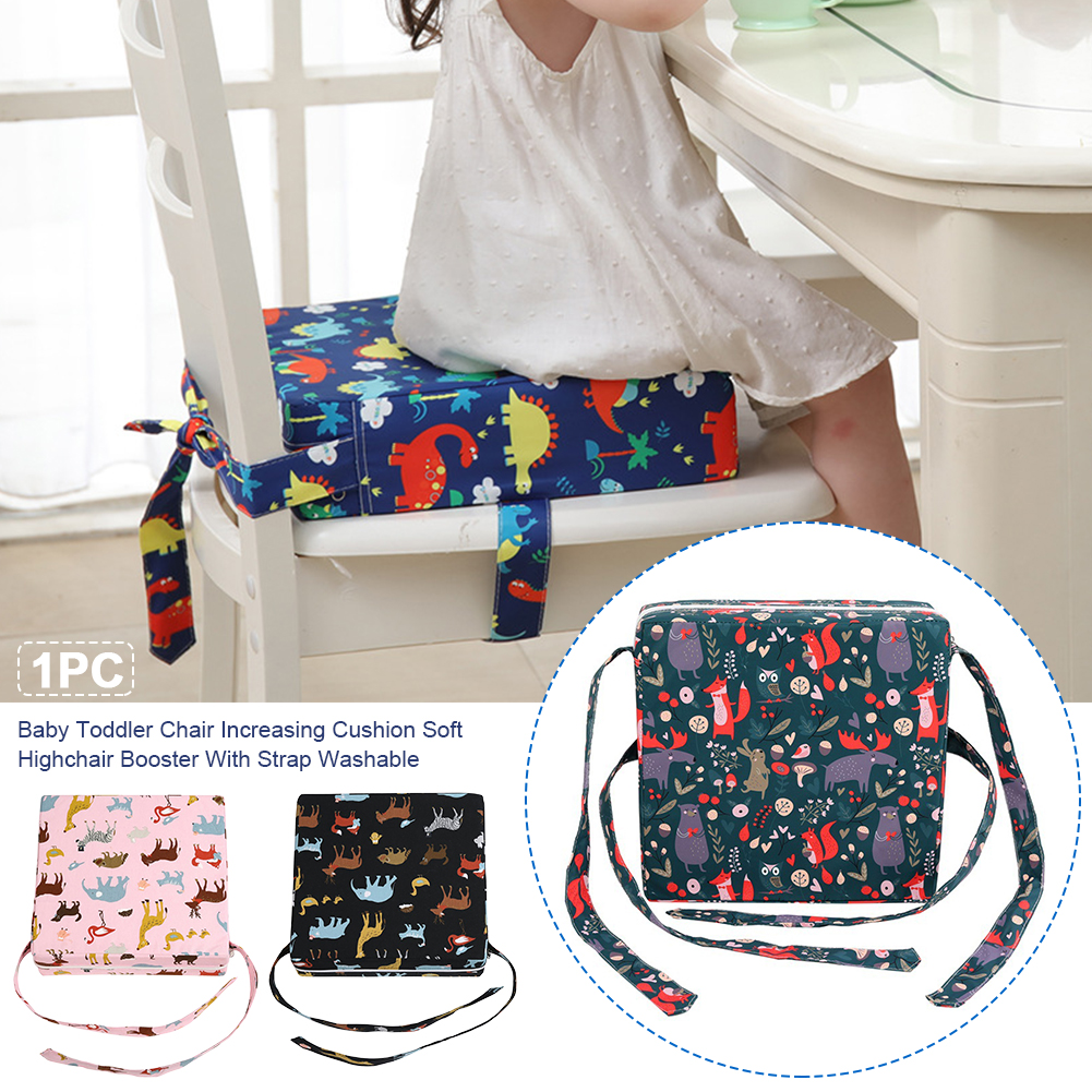 Washable Dining Zipper Chair Increasing Cushion Portable Infant Highchair Booster Kids Soft Removable Baby Toddler With Strap