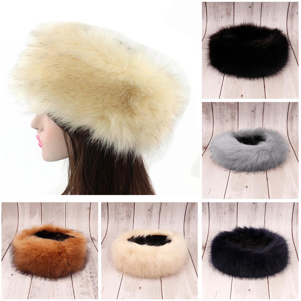 Xugar Winter Ear Warmer Fox Fur Headband For Women Girls Solid Color Bandanas Faux Fake Fur Ski Bomber Hat Earmuff Hair Band