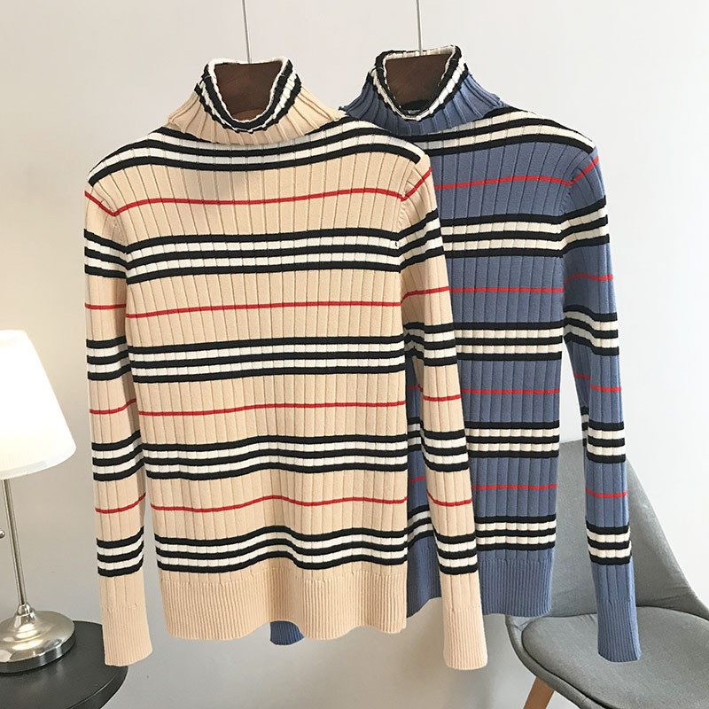 Milinsus Turtleneck Striped Sweater Pullover Jumper Women Shirt Vogue Autumn Winter Knitted Sweaters Sueter Mujer Invierno 2019