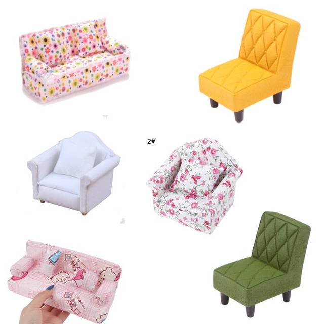 New Arrive Simulation Small Sofa Stool Chair Furniture Model Toys for Doll House Decoration Dollhouse Miniature Accessories 2