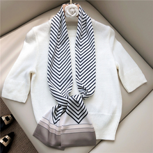 INS 2020New Korean scarf small long silk for ladies Double-Sided Computer printed Fashion Small Neckerchief tie
