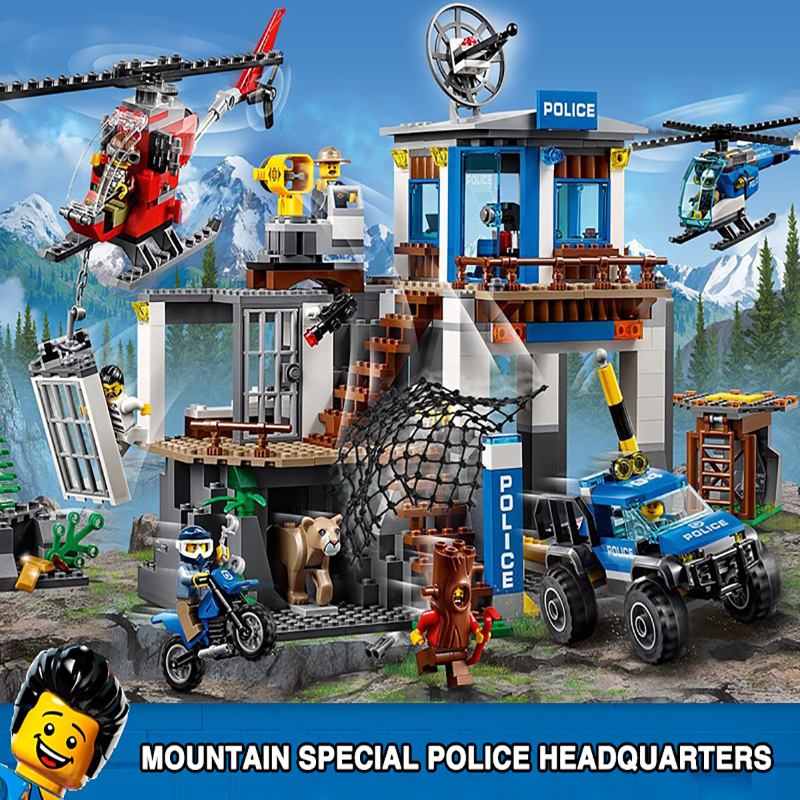 City Compatible Legoinset 60174 Building Blocks Bricks Mountain Police Headquarters Speed Build Gift Toys For Children Kids