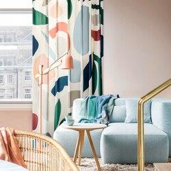 Dostosowane zasłony do sypialni pokój dzienny gruba kurtyna Chenille geometria rolety z kwiatowym nadrukiem nowoczesne zasłony oryginalne Nordic