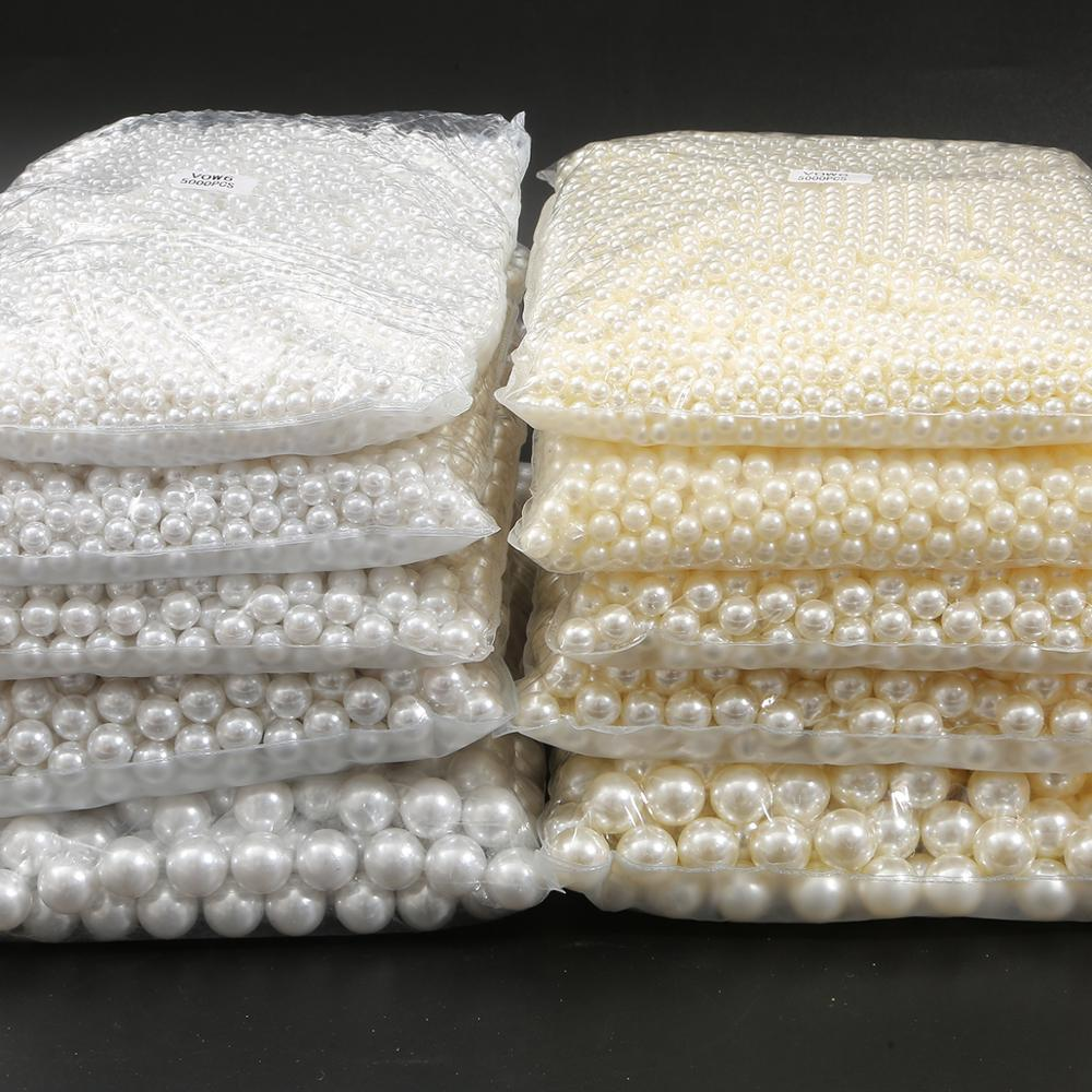 10-1000pcs 2/3/4/5/6/8/10/12/14/16/18MM No Hole ABS Imitation Pearl Beads Round Loose