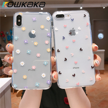 Cute Clear Cartoon Flower Phone Case For iPhone 11 Pro Max 12 Mini X XR XS Max SE 2020 6 6s 7 8 Plus Soft Love Heart Back Cover