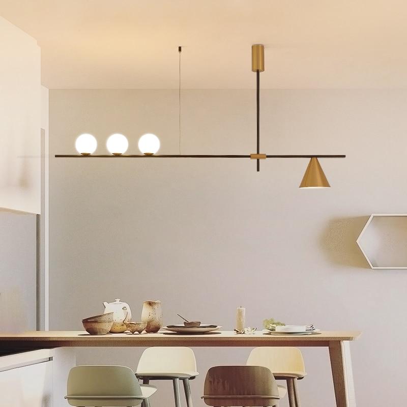 Nouveau nordique de luxe salon LED lustre lampe simple moderne restaurant design magasin de vêtements créatif verre plafonnier