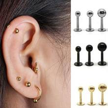 Women Punk Steel Barbell Ear Cartilage Helix Tragus Stud Earring Bar Piercing(China)
