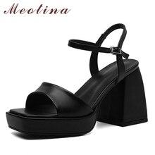 Meotina-zapatos de piel auténtica para mujer, sandalias cuadradas de tacón superalto con plataforma y tacón grueso, calzado de verano a la moda, color blanco