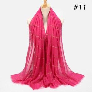 Image 4 - ลายสก๊อตคลาสสิกผ้าคลุมไหล่ผ้าฝ้ายมุสลิมHijabผ้าพันคอสำหรับสุภาพสตรีCross StripesสีอิสลามHijabsผ้าพันคอผ้าคลุมไหล่