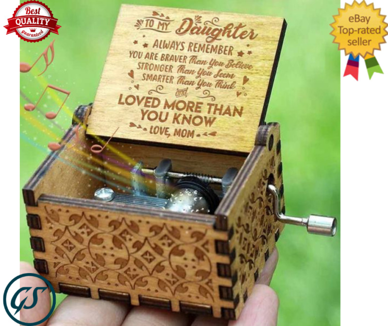 Wooden Music Box Mom/Dad To Daughter You Are My Sunshine Engraved Toy Kid Gift